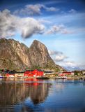 Norway Lofoten Fjord, Arctic Mountains Landscape Stock Photos