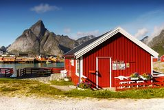Norway Lofoten Fjord, Arctic Mountains Landscape royalty free stock image
