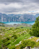 Beautiful Norwegian fjord panorama by the coast of Lysefjord, Norway Stock Image
