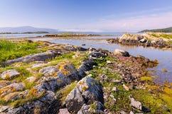 Beautiful Norwegian fjord shore. Beautiful summer landscape of Norwegian fjord Royalty Free Stock Photo