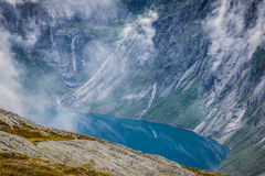Beautiful norwegian landscape with mountains on the the way to t Royalty Free Stock Photos