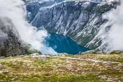Beautiful norwegian landscape with mountains on the the way to t Royalty Free Stock Images