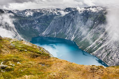 Beautiful norwegian landscape with mountains on the the way to t Royalty Free Stock Photo