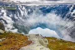 Beautiful norwegian landscape with mountains on the the way to t stock photos