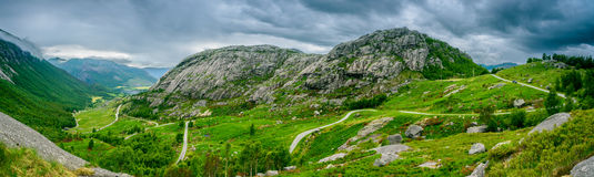 Beautiful Norwegian mountain panorama by the coast of Lysefjord, Norway Royalty Free Stock Image