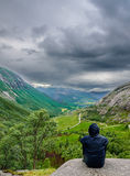 Beautiful Norwegian valley panorama by the coast of Lysefjord, Norway Stock Images