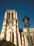Notre Dame side view with lantern stock photography