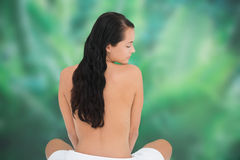 Beautiful nude brunette sitting with towel at waist Stock Photo