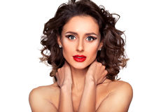 Beautiful nude fashion female model with professional makeup. Photo of beautiful nude fashion female model with professional makeup and hairstyle on white Royalty Free Stock Photography