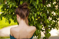 Beautiful nude female shoulders. Summer outdoors Royalty Free Stock Images