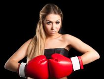 Beautiful nude girl with boxing gloves Royalty Free Stock Photography