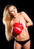 Beautiful nude girl with boxing gloves Royalty Free Stock Image