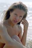 Beautiful nude woman on beach Royalty Free Stock Photo