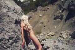 Beautiful nude woman on beach Royalty Free Stock Photography