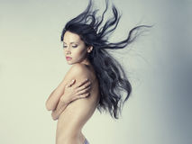 Beautiful nude woman with magnificent hair Stock Images