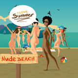 Beautiful nude woman at the seaside. Royalty Free Stock Images