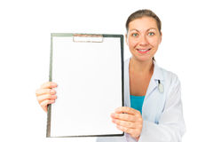 Beautiful nurse holding a blank form Royalty Free Stock Photography