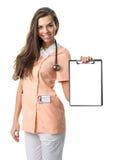Beautiful nurse holding a folder Royalty Free Stock Image