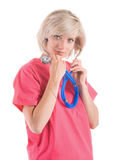 Beautiful nurse in pink scrubs Stock Image