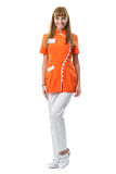 Beautiful nurse portrait in orange work clothing Stock Photo