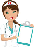 Beautiful Nurse Showing Folder. Illustration featuring beautiful smiling nurse presenting showing indicating blank folder isolated on white background. Eps file Royalty Free Stock Photos