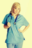 Beautiful Nurse with Stethoscope. Beautiful blond smiling nurse stock images