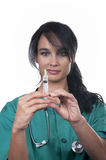 Beautiful nurse with syringe Royalty Free Stock Photography