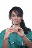 Beautiful nurse with syringe Royalty Free Stock Photography