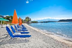 Beautiful Nydri beach, Lefkada, Greece. Beautiful Nydri beach, Lefkada island, Greece Royalty Free Stock Images