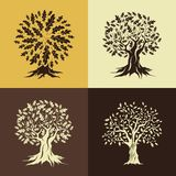 Beautiful oak trees silhouette set Royalty Free Stock Image
