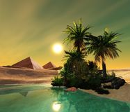 Beautiful oasis in the desert sand Stock Image
