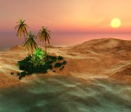 Beautiful oasis in the desert sand Stock Photography