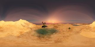 Beautiful oasis in the desert sand Stock Images