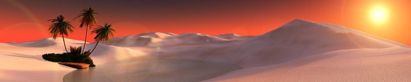 Beautiful oasis in the desert sand Royalty Free Stock Image