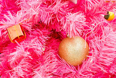 Beautiful object decorated on pink Chirstmas tree Royalty Free Stock Image