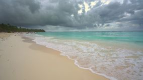 Beautiful ocean beach in dominican republic. At stormy day stock footage