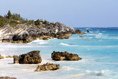 Beautiful ocean, blue sky. A tropical coast line with large crashing waves stock photography