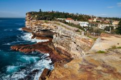 Beautiful ocean coast with the blue sea at Watsons bay lookout, Sydney, Australia. stock photo