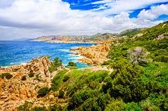Beautiful ocean coastline landscape during sunny day. Costa Paradiso, Sardinia, Italy Stock Photo