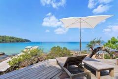Island in Thailand. Umbrella chair over the beautiful ocean at Koh Kood island Thailand Royalty Free Stock Photos