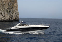 Beautiful ocean powerboat. Nice ocean going powerboat off the island of Capri Royalty Free Stock Photo