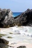 Beautiful ocean, rocks. A tropical coast with large crashing waves on rocks stock image