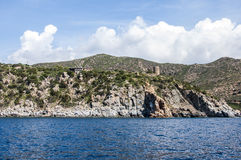 Beautiful ocean rocky coastline panorama Sardegna island Sardinia Italy Royalty Free Stock Photos