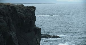 Coastal view, Hellnar, Iceland. Beautiful ocean scenic in Iceland. Slow motion stock footage