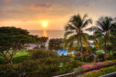 Beautiful ocean sunset at tropical resort Royalty Free Stock Photography