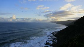 Beautiful ocean time lapse at sunset along Great Ocean. Road Australia stock footage