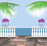 Beautiful Ocean View From a Tropical Terrace Royalty Free Stock Photo