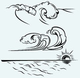 Beautiful ocean wave. Isolated on blue background vector illustration