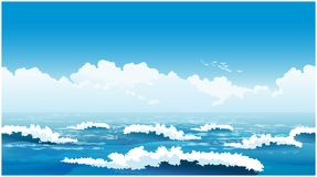 Beautiful ocean waves. Stylized seamless horizontal vector illustration of an picturesque ocean  waves Royalty Free Stock Photos