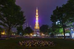 The beautiful Odori Park with TV Tower at night Stock Image